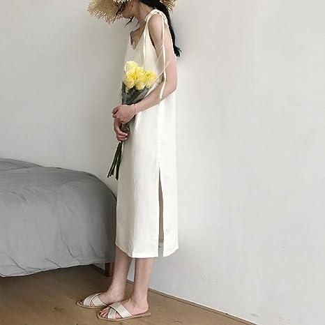 GUO Vestido de Verano Coreano de Mujer, Vestido con Tirantes ...