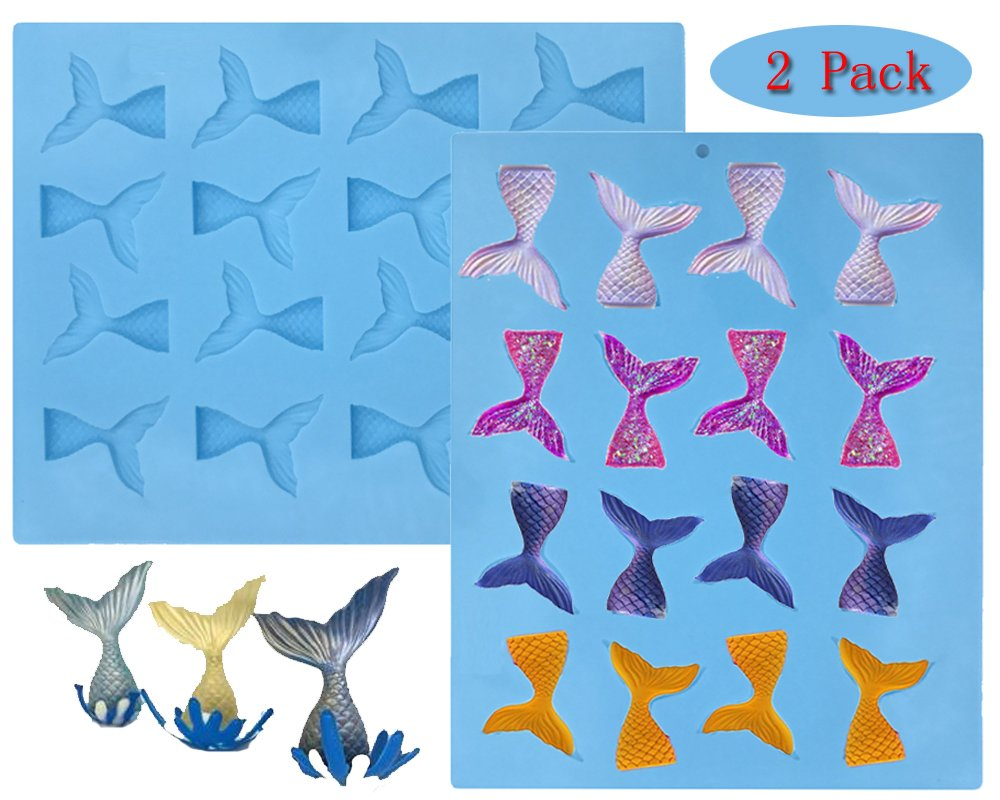 (set of 2)16 Cavity Gummy Mermaid Tail Silicone Fondant Mold for Cake Decoration Make Fishing Lures Chocolate Mold Soap Mold Candy Mold Baking Tool Jello Mold Cupcake Topper Ice Tray(blue)