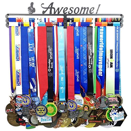 Medal Hanger Awards Holder Display Rack for 60 Medals Use for All Sports Black Steel Medal Hanger Holder,Race Medal Display Holder,Running Medal Hangers,Awesome Medal Holder for Runner