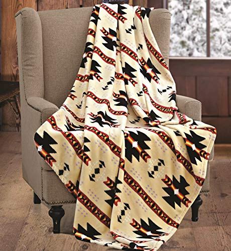 Southwest Fleece Blanket - Virah Bella SouthWest Native Beige Throw Blanket