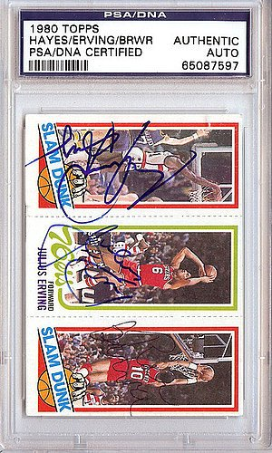 Julius Erving, Elvin Hayes & Ron Brewer Signed 1980 Topps Trading Card - Certified Genuine Autograph By PSA/DNA - NBA Basketball Trading Card 1980 Philadelphia 76ers