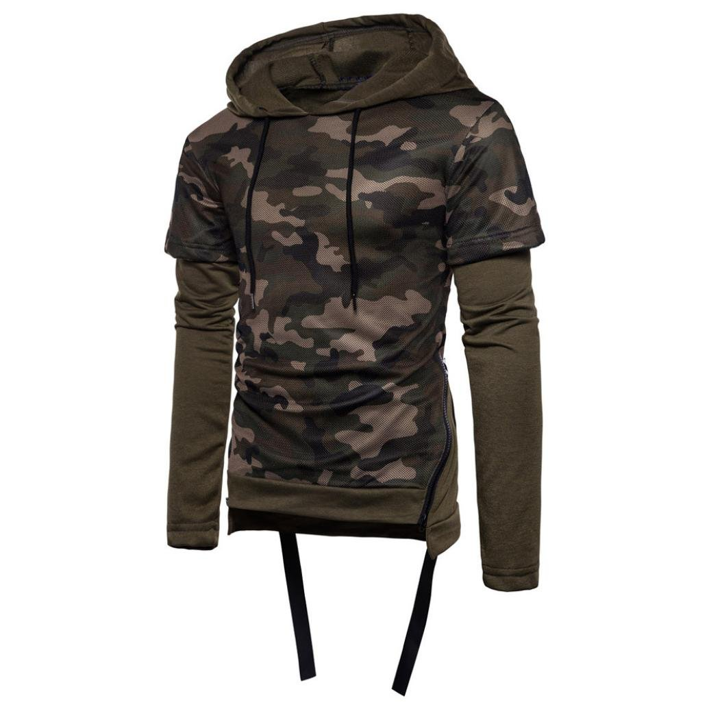 AMSKY Mens' Pullover Hoodies, Men's Fashion Camouflage Zipper Side Hipster Color Block Cozy Cotton Hooded Sweatshirt (XL, Army Green)