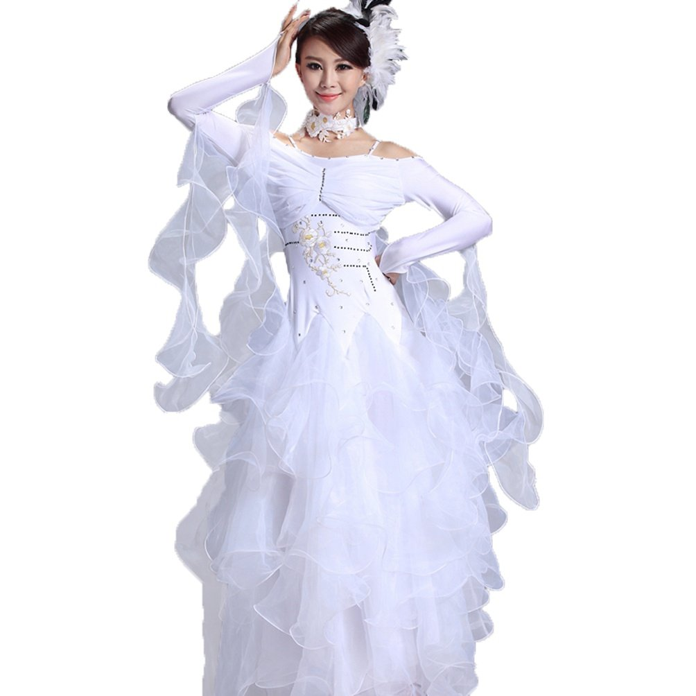 WHITE-L WQWLF National Ballroom Dance Clothes For Women Long Sleeve Shoulder Strap Waltz Modern Competition Dance Dresses Performance Costume