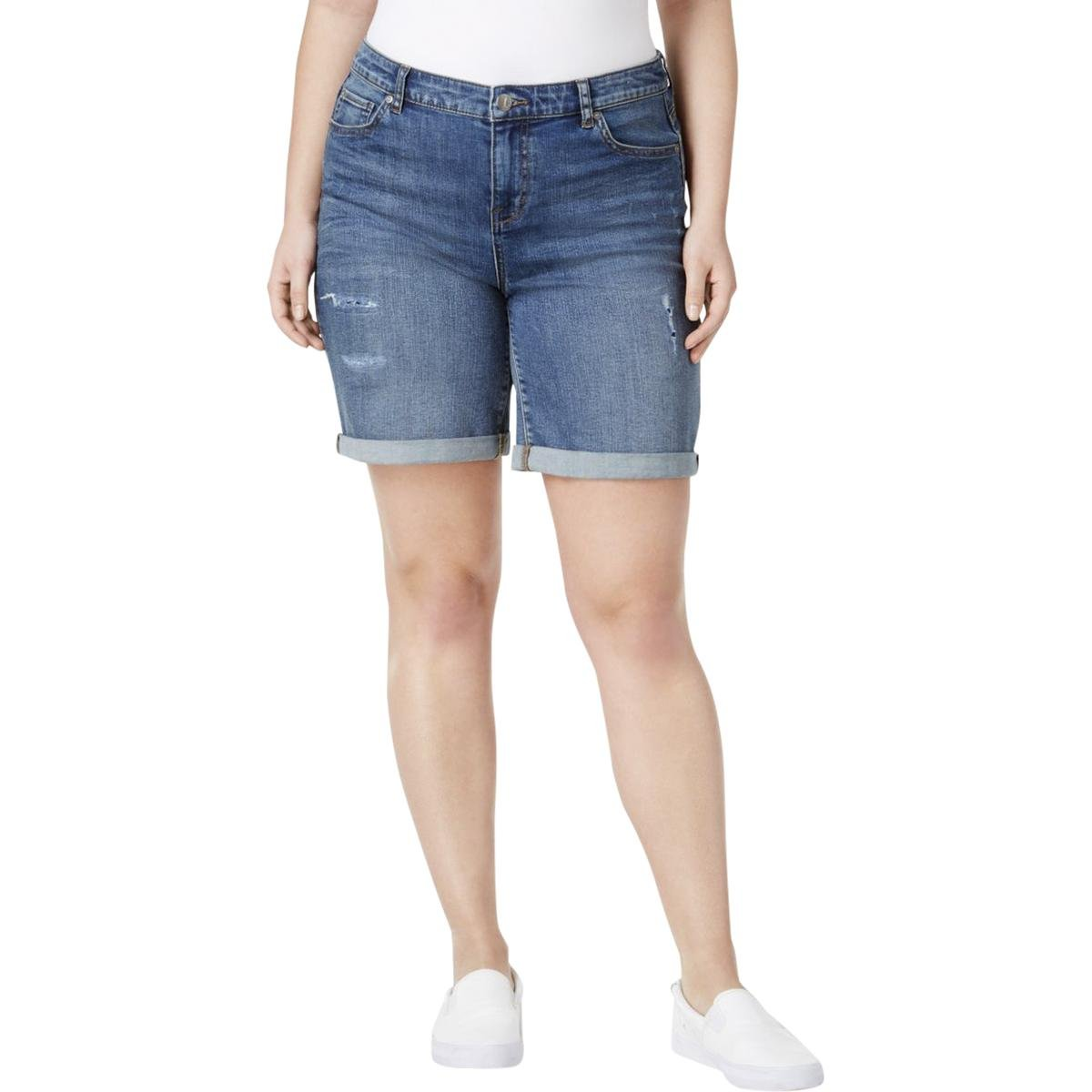 32ccecc445 Womens Plus Mid-Rise Distressed Denim Shorts Blue 14W at Amazon Women's  Clothing store: