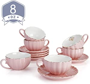 Amazingware Royal Tea Cups and Saucers, with Gold Trim and Gift Box, British Coffee Cups, Porcelain Tea Set, Set of 6 (8 oz)- Pink