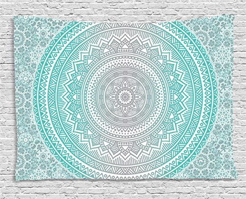 Ambesonne Grey and Aqua Tapestry, Ombre Traditional Universe Symbol with Tribal Geometric Mandala Zen Artwork, Wall Hanging for Bedroom Living Room Dorm, 60 W X 40 L Inches, Aqua Grey (Decor For Teens Wall)
