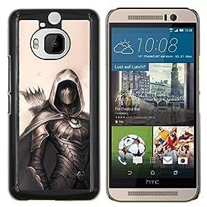 YiPhone /// Prima de resorte delgada de la cubierta del caso de Shell Armor - pintura arquero héroe negro flecha de color beige - HTC One M9Plus M9+ M9 Plus