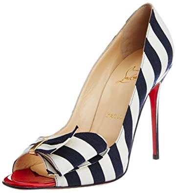 Vogue for Christian Louboutin Women s Blue and White Cotton Pumps ... fa8003c7adfb
