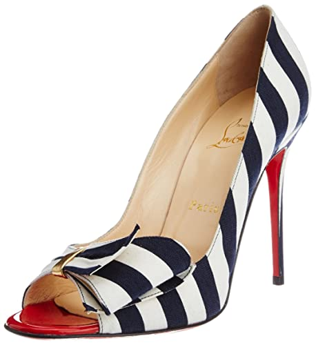 59ead340e21 Vogue for Christian Louboutin Women s Blue and White Cotton Pumps ...