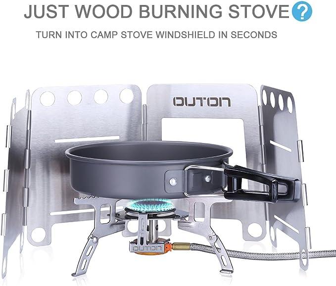 Cocina a leña portátil Outon para camping, plegable, ligera, de acero inoxidable, Medium: Amazon.es: Deportes y aire libre