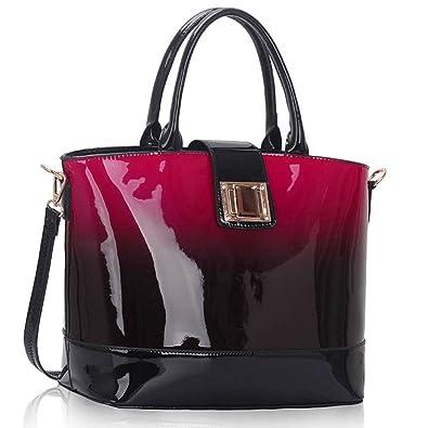 da997033cbc6 Ladies Handbags Womens Large Bags Shoulder Patent Leather Designer style  (Burgundy Shoulder Bag)