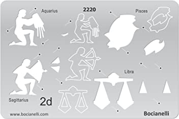 Bocianelli Plastic Stencil Template for Graphical Design Drawing Drafting Jewellery Making - 2D Zodiac Signs Sign Aquarius Pisces Sagittarius Libra