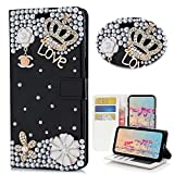 Spritech LG Tribute HD Case (LS676) Case, [Card Slot] Design Flip Leather 3D Handmade Bling Crystal Metal Butterfly Flower Rhinestones Diamond Wallet Case Cover for LG X Style/LG Volt 3/LG L53B/L56VL