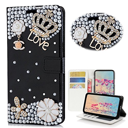 Galaxy S9 Case, Spritech [Card Slot] [Kickstand Feature] Handmade Bling Design Flower Butterfly Decorated Folding Protected Smartphone Cover Black Leather Wallet Case for Samsung Galaxy S9