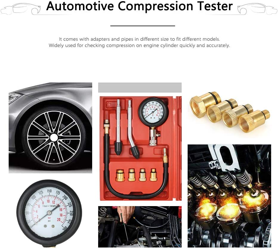 CviAn Compression Test Kit Test Gauge Kit Car Motorcycle Garage Tools with Case Engine Compression Tester