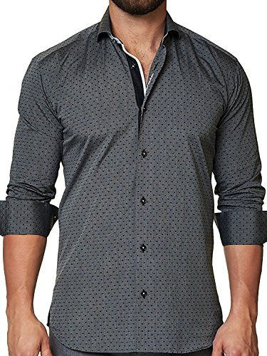 Collar Cotton Italian Dress Shirt (Maceoo Mens Designer Dress Shirt - Stylish & Trendy- Black Dot Grey - Tailored Fit)