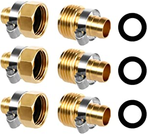 Darmulty Garden Hose Repair Kit 5/8 Inch, Brass Connector Mender with Clamps, Garden Water Hose Repair Fittings for Garden Hose, Sprayers, Water Faucet 3 Sets