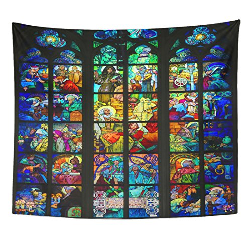 Emvency Tapestry Prague Czech Republic April Stained Glass Window of St Home Decor Wall Hanging for Living Room Bedroom Dorm 50x60 Inches