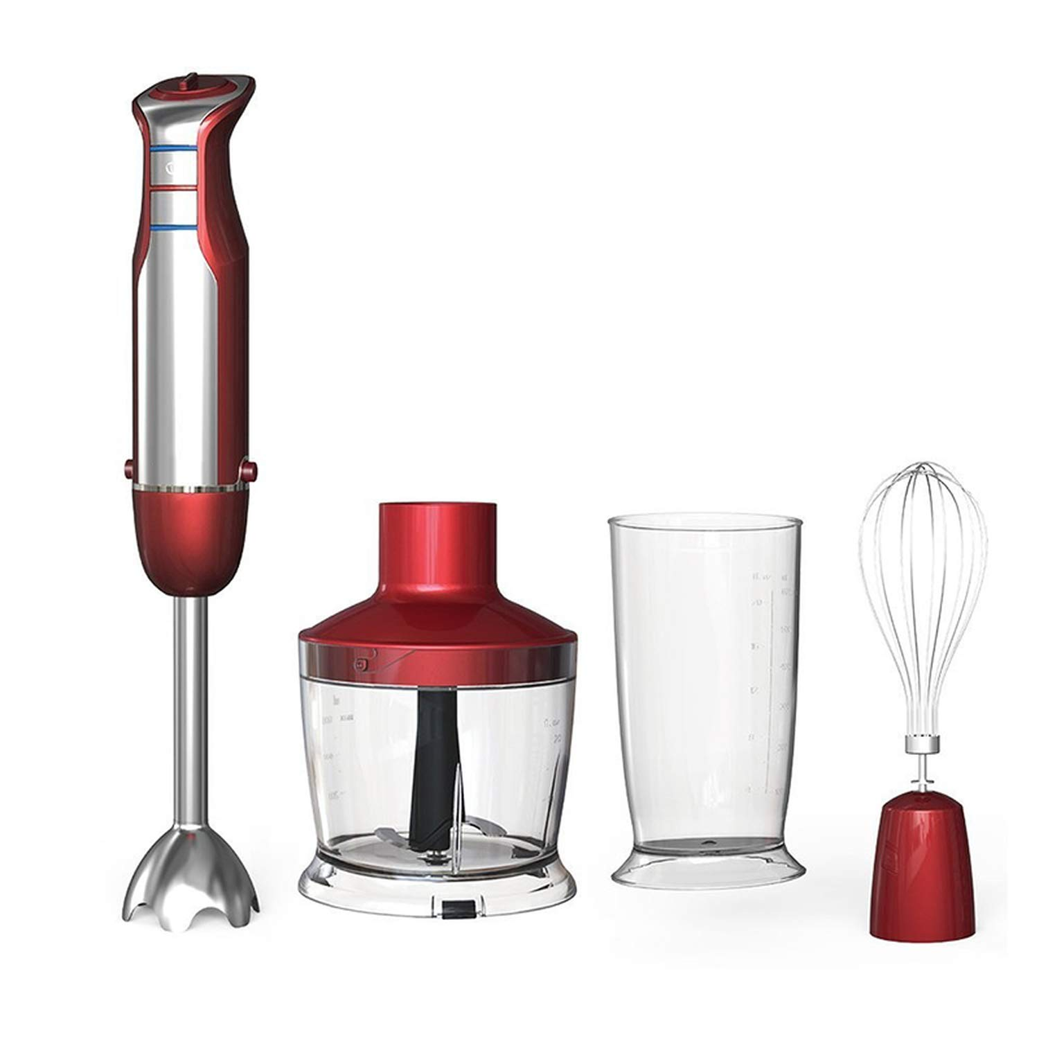 6 Speed Powerful Immersion Hand Blender 800W 4-in-1 Hand Blender mixer with Food Processor Smoothie Bar Fruit Blender,Red,4 in 1,US Plug