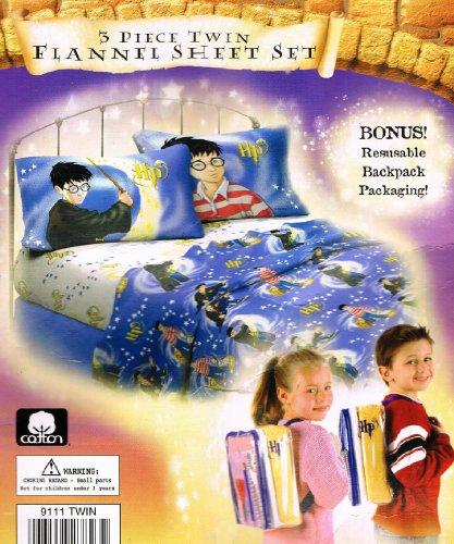 Harry Potter Sorcerer's Stone Twin 100% Cotton Flannel Sheet Set + Bonus Backpack!