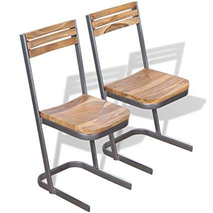 Amazon Com Festnight Set Of 2 Teak Wood Dining Chairs With Iron