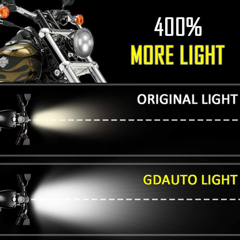 Chrome GDAUTO 7 LED Headlight Ultra Limited with 4-1//2 LED Passing Mounting Bracket Ring Lamps 4.5 Fog Light for Harley Davidson