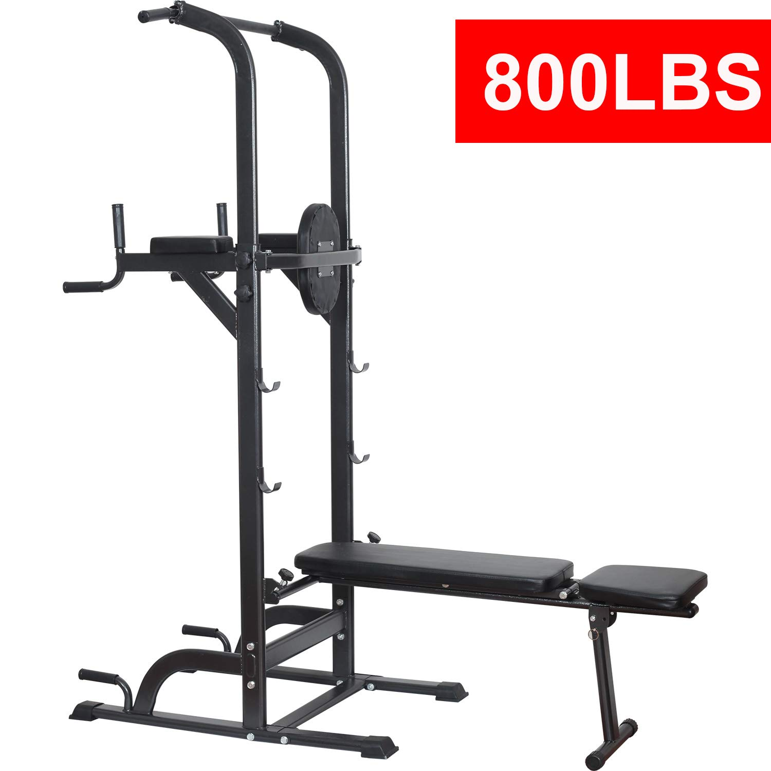 17677785384 Reliancer Power Tower Dip Station High Capacity 800lbs w Weight Sit Up  Bench Adjustable Height Heavy Duty Steel Multi-Function Fitness Pull Up  Chin Up Tower ...
