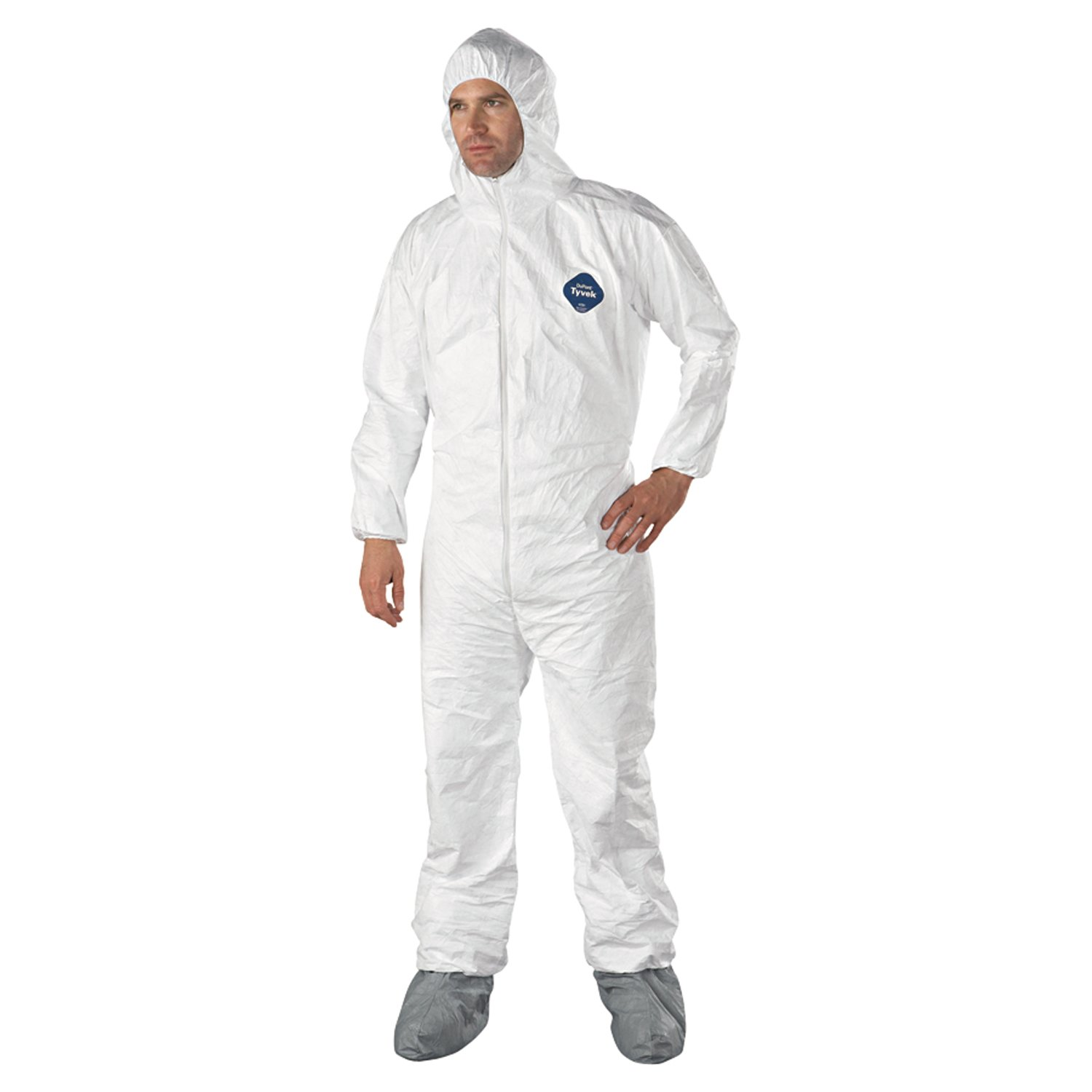 Dupont TY122S-L Tyvek Coveralls with Attached Hood and Boots, Large, White (Pack of 25)