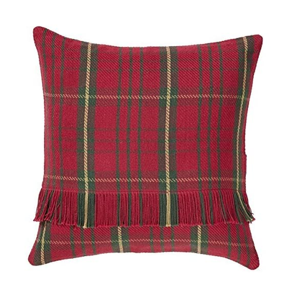 """VHC Brands Jasper 16"""" x 16"""" Woven Pillow Case in Green and Tan - Finish: Red, Tan, Green Materials: 100% Cotton Shell Single fabric - living-room-soft-furnishings, living-room, decorative-pillows - 61ewLK2LSSL. SS570  -"""