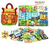 GODR7OY Baby Activity 46pcs Numbers and Animals Soft Cloth Cards with Dessert House Cloth Bag Educational Puzzles Toys Baby Intelligence Development Learn Picture Cognize Cards for Over 0 Years
