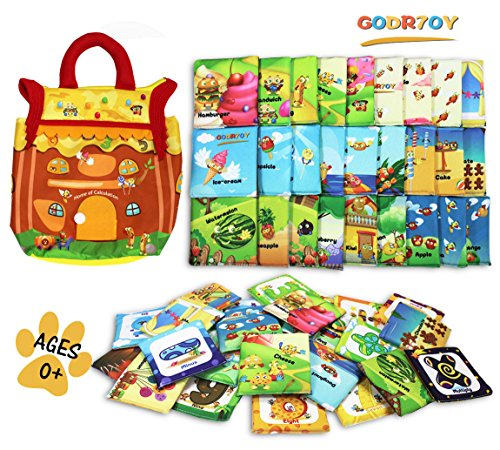 GODR7OY Baby Activity 46pcs Numbers and Animals Soft Cloth Cards with Dessert House Cloth Bag Educational Puzzles Toys Baby Intelligence Development Learn Picture Cognize Cards for Over 0 Years by GODR7OY