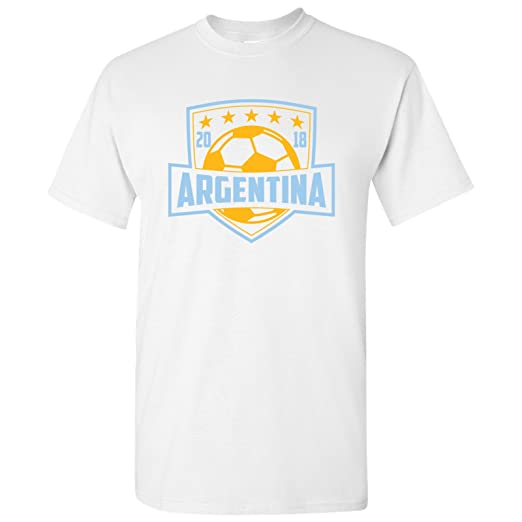 Argentina National Football Team Shield - 2018 World Soccer Cup T Shirt -  Small - White 7389a8f59