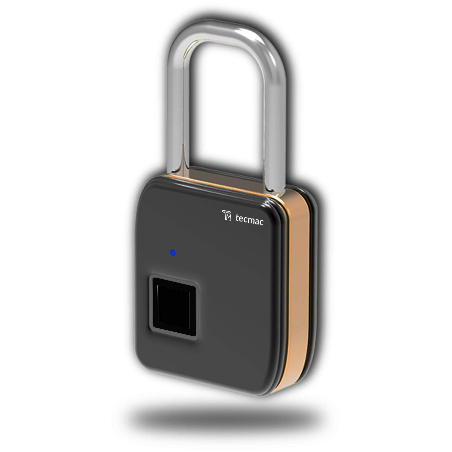 TecMac Mini Electronic Smart Fingerprint Padlock, Zinc Alloy with Stainless Steel Waterproof Lock, Suitable for House Door, Backpack, Suitcase, Bike, Gym, Office and More (Black)