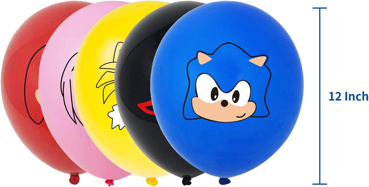 Junxi Sonic the Hedgehog birthday party supplies package including banner cake top hat 24 cake top hat 20 balloon party supplies