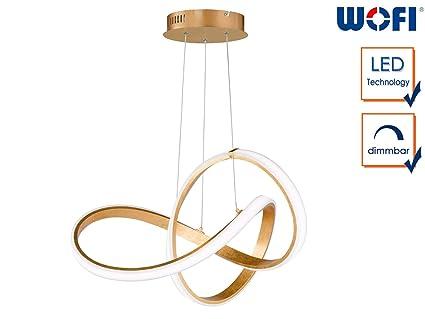 Wofi - LED Deckenleuchte Indigo gold moderne Wohnzimmerlampe ...