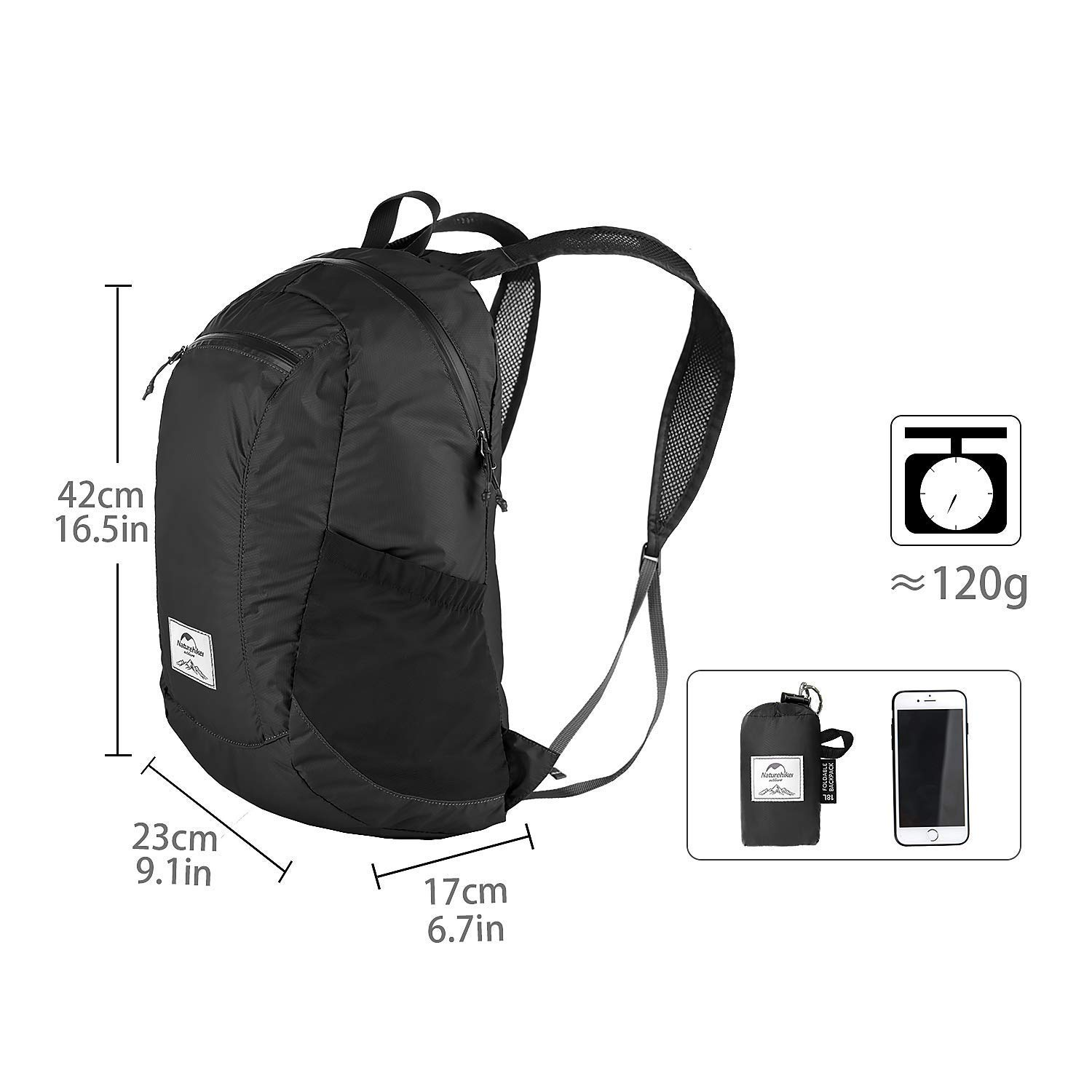 Naturehike 18L Ultralight Collapsible Backpack (Black) by Naturehike (Image #2)