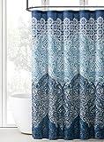 #2: Indina Boho Paisley Bathroom Fabric Shower Curtain: Elegant Blue Eclectic Design