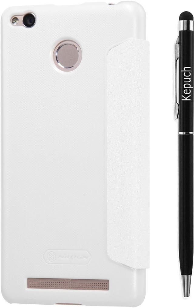 Kepuch XiaoMi Redmi3 Pro Funda Estuche Cuero Brillante Escudos Carcasa Funda Smart Case Cover Cuero Ultra-Delgado con Protector Pantalla para XiaoMi Redmi3 Pro - Blanco