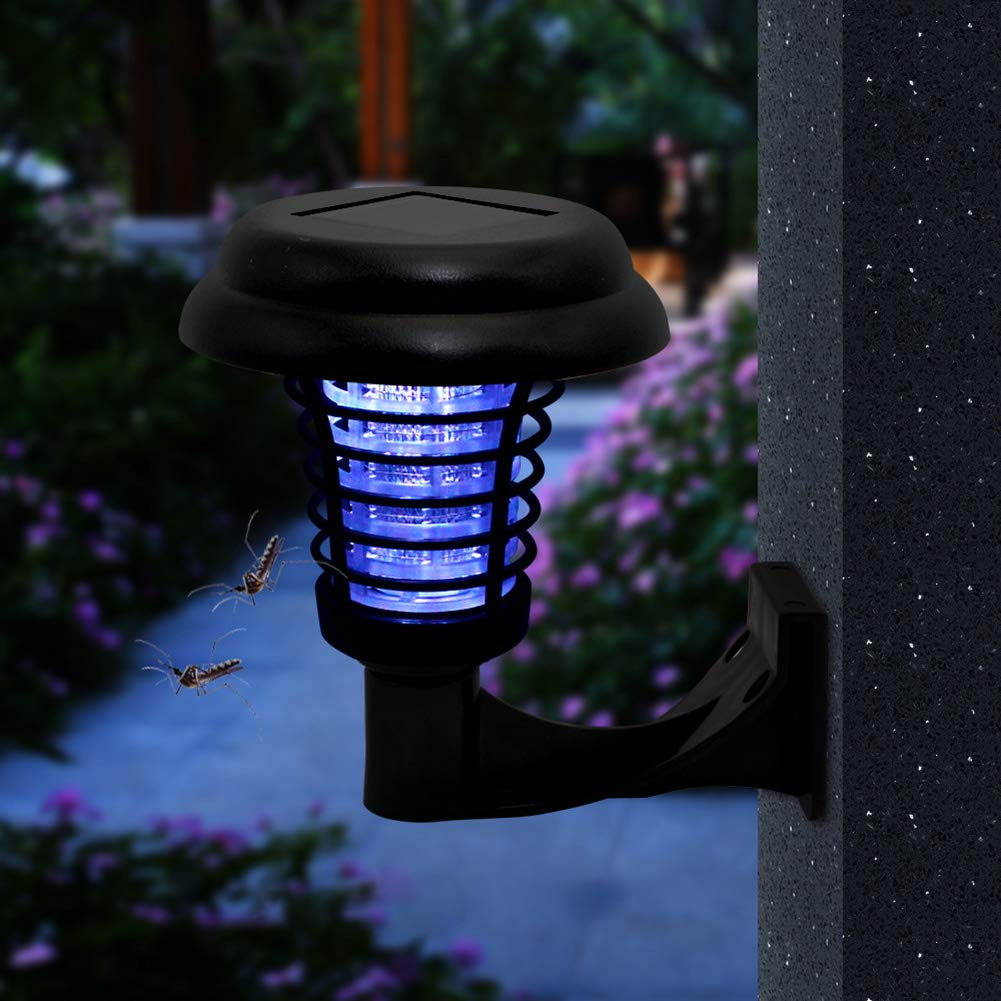 2PCS LED Solar Mosquito Killer Lamp,UV Lamp Insect Pest Outdoor Garden Lawn Landscape Light,2PCS