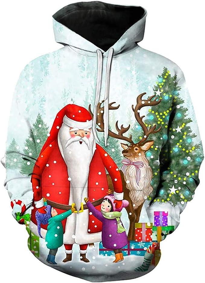 UNIFACO Unisex H/ässliche Weihnachtspullover Damen Herren 3D Druck Lustige Weihnachtspulli Rundhals Weihnachts-Sweatshirt Jumper Herbst Xmas Pulli S-4XL