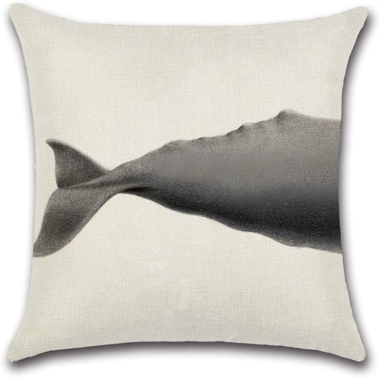 MoGist Sofa Pillowcase Cotton Linen Sperm Whale Printing Cushion Covers for Room Decorative