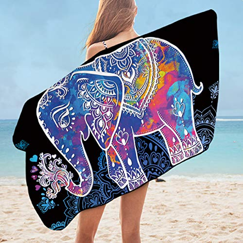 Sleepwish Elephant Towel Bath Towels Decorative Super Soft Bath Sheets Bohemian Large Beach Towel (Rainbow Elephant, 30