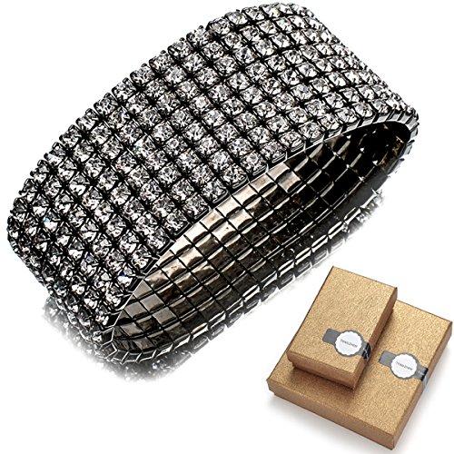 Bridal Rhinestone Stretch Bracelet Silver Tone - Ideal for Wedding, Prom, Party or - Warehouse Rhinestone