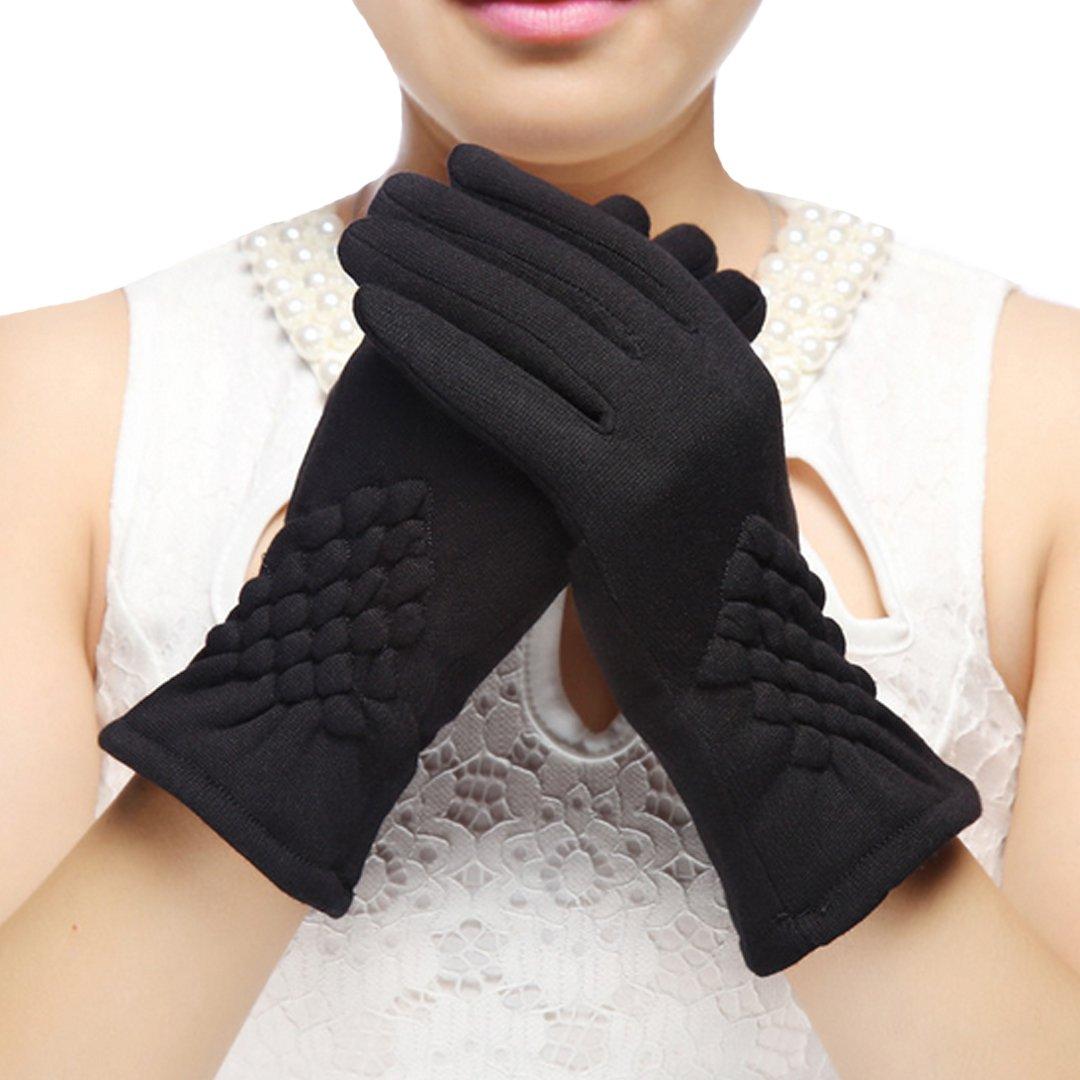 Monique Women Touchscreen Full-finger Plush Gloves Autumn Winter Thick Warm Motorcycle Bicycle Bike Gloves Mittens Black