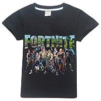 BESTHOO Unisexe Enfants Fortnite Été T-Shirt Lettres Imprimé Équipe De Combat T-Shirt Fortnite PVP Tops pour Garçon et Fille