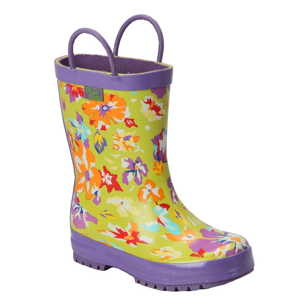 Pluie Pluie Little Girls Lime Purple Flower Rain Boots 13 Kids