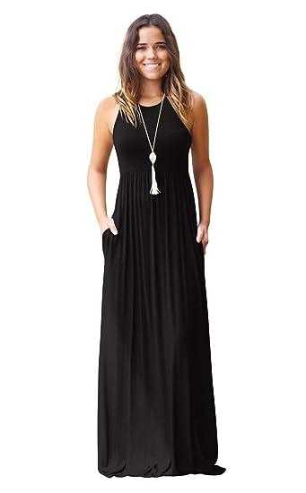 Hmeng - Vestido largo sin mangas y con bolsillos para mujer. Vestido de fiesta largo