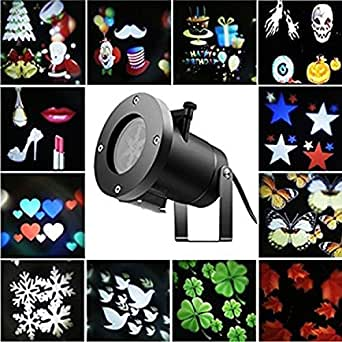 Merkmak Snowflake Projector Waterproof Outdoor Indoor Led Stage Disco Light 12 Types Slide Christmas Lase Lamp for Home Garden Holiday Decoration
