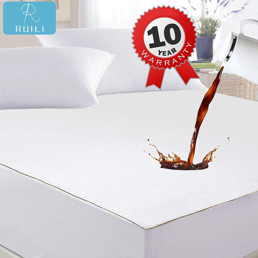Ruili King Size Premium 100% Waterproof Mattress Protector-Vinyl Free, Deep Pocket Stretch to 6-18'' Cooling Waterproof Mattress Cover, Hypoallergenic Fitted Mattress Protector - 10 Year Warranty