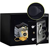 JUGREAT Safe Box with Induction Light,Electronic Digital Securit Safe Steel Construction Hidden with Lock,Wall or…